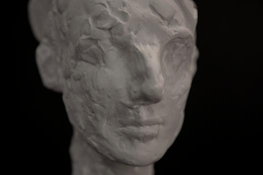 Buste en plâtre en noir et blanc. Vu de 3/4
